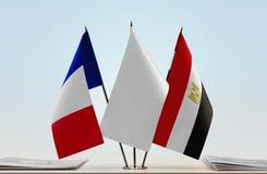 Флаги Франции и Египта стоковая фотография rf