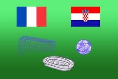 Флаги Франции и Хорватии, стадиона шарика на зеленой предпосылке стоковые фото