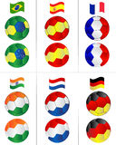флаги шариков летая футбол Стоковое Фото