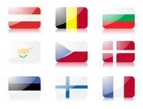 флаги 1 европейца установили соединение стоковое фото