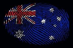 Флаг Австралии в форме отпечатка пальцев на черной предпосылке иллюстрация вектора