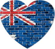 Флаг Австралии на кирпичной стене в форме сердца Стоковая Фотография RF