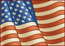 флаг американца близкий вверх по сбору винограда Стоковые Изображения