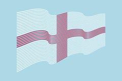 Флаг Англии на голубой предпосылке Флаг нашивок волны, линия Стоковые Фотографии RF