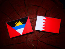 Флаг Антигуа и Барбуды с бахрейнским флагом на isol пня дерева Стоковое фото RF