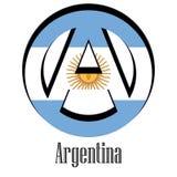 Флаг Аргентины мира в форме знака анархии иллюстрация вектора