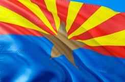 Флаг Аризоны E Национальный символ США государства Аризоны, перевода 3D Национальные цвета и национальный стоковая фотография