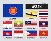 Флаг ассоциации АСЕАН юговосточных азиатских наций и членства Стоковая Фотография