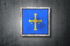 Флаг Астурии в бетонной стене иллюстрация штока