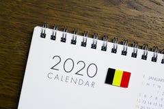 Флаг Бельгии на календаре 2020 стоковое изображение