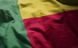 Флаг Бенина Rumpled близкая вверх стоковая фотография rf