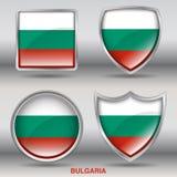 Флаг Болгарии в собрании 4 форм с путем клиппирования Стоковое Фото