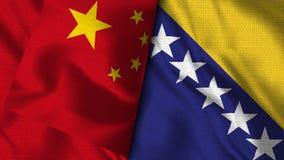 Флаг Боснии и Герцеговины и Китая -- флаги иллюстрации 3D иллюстрация вектора