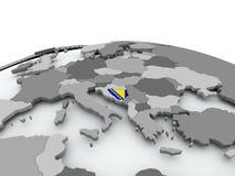 Флаг Боснии на глобусе иллюстрация штока