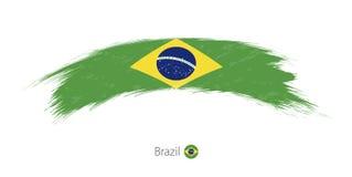 Флаг Бразилии в округленном ходе щетки grunge иллюстрация вектора