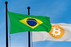 Флаг Бразилии и флаг Bitcoin Стоковые Фотографии RF