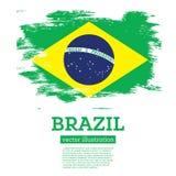 Флаг Бразилии с ходами щетки иллюстрация штока