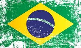 Флаг Бразилии, Федеративной Республики Бразилия, сморщенных грязных пятен иллюстрация вектора