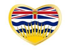 Флаг Британской Колумбии в форме сердца, золотой