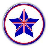 Флаг британцев как значок звезды Звезда Великобритании вектора Стоковое Изображение RF