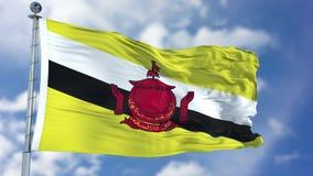 Флаг Брунея в голубом небе Стоковая Фотография RF