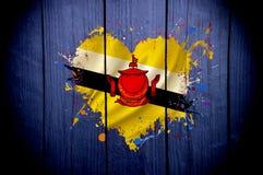 Флаг Брунея в форме сердца на темной предпосылке Стоковые Фотографии RF