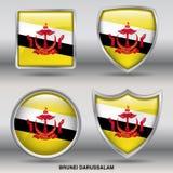 Флаг Брунея Darussalam в собрании 4 форм с путем клиппирования Стоковые Фото