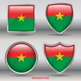 Флаг Буркина Фасо в собрании 4 форм с путем клиппирования Стоковые Фотографии RF