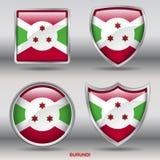 Флаг Бурунди в собрании 4 форм с путем клиппирования Стоковые Изображения