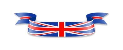 Флаг Великобритании в форме ленты волны Стоковое Фото