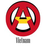 Флаг Вьетнама мира в форме знака анархии иллюстрация штока