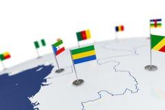 Флаг Габона Стоковая Фотография RF