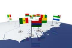 Флаг Гамбии Стоковые Изображения