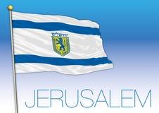 Флаг города Иерусалима, герба, дизайна векторной графики, иллюстрации иллюстрация вектора