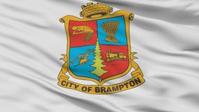 Флаг города Brampton, Канада, взгляд крупного плана иллюстрация штока
