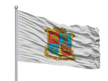 Флаг города Brampton на флагштоке, Канаде, изолированной на белой предпосылке иллюстрация вектора