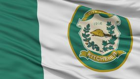 Флаг города Kitchener, Канада, провинция Онтарио, взгляд крупного плана Иллюстрация штока