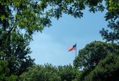 Флаг государственный флаг сша США против голубого неба Стоковые Изображения
