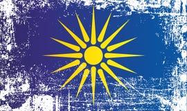 Флаг греческой Македонии, западной Македонии, административной области Греции Сморщенные грязные пятна иллюстрация штока