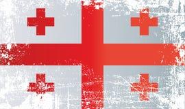 Флаг Грузии, страны Грузии Сморщенные грязные пятна иллюстрация штока