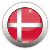флаг Дании кнопки aqua Стоковое Изображение RF