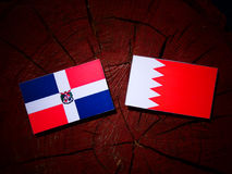 Флаг Доминиканской Республики с бахрейнским флагом на isola пня дерева Стоковые Фото