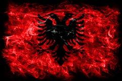 Флаг дыма Албании на черной предпосылке Стоковая Фотография RF