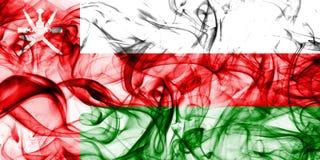 Флаг дыма Омана на белой предпосылке Стоковые Изображения