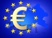Флаг Европейского союза с золотым символом валюты евро, 3d представляет Стоковые Изображения
