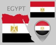 Флаг Египта, карта и указатель карты бесплатная иллюстрация