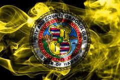 Флаг задымления городов Гонолулу, положение Гаваи, Соединенные Штаты Америки Стоковое фото RF