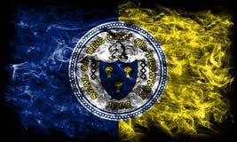 Флаг задымления городов Трентона, положение Нью-Джерси, Соединенные Штаты Amer Стоковые Изображения