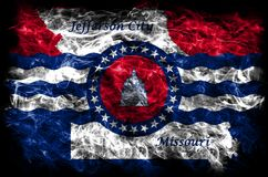 Флаг задымления городов Jefferson City, положение Миссури, Соединенные Штаты  стоковое фото