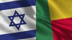 Флаг Израиля и Бенина - 2 сигнализируют совместно стоковая фотография rf
